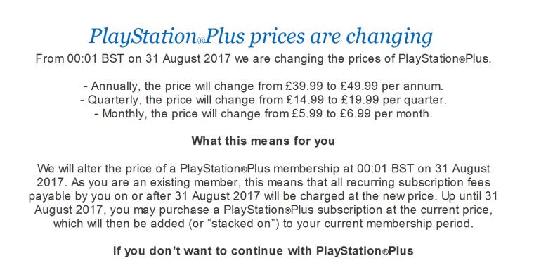 PS Plus Price Hike